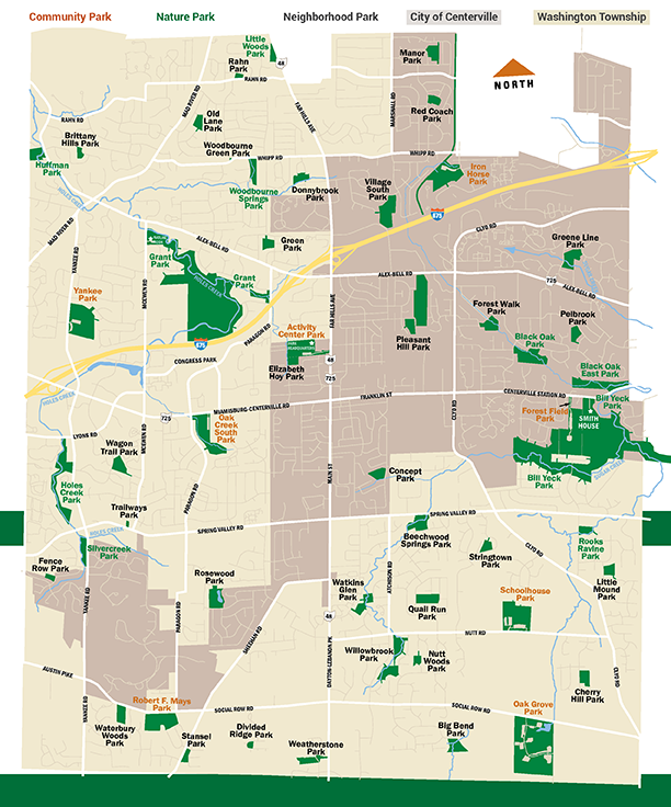 Centerville-Washington Park District map of park locations