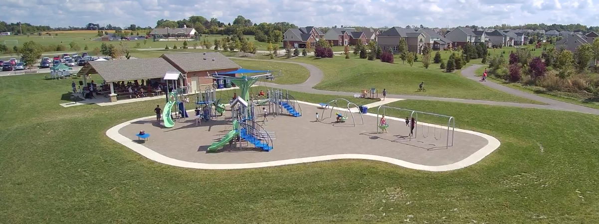 Robert F. Mays Park playground and shelter aerial view