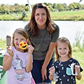 mom and daughters eating ice cream at Oak Grove Park