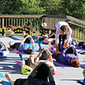 yoga class on the deck of the Kennard Nature Nook
