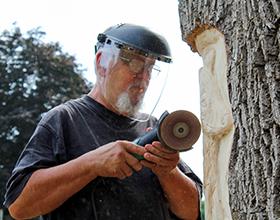 Loren Lorenzo carves a fox into a tree at Black Oak Park