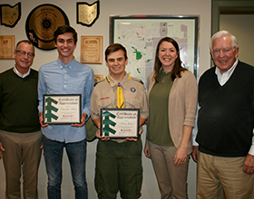 Eagle Scouts with CWPD board members, November 12, 2018