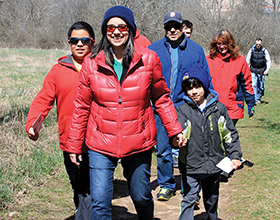 family of hikers in Grant Park