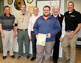 Wright Brothers District Director Dylan Melling and Chairman Rob Jacques present Centerville-Washington Park District with Organization of the Year Award