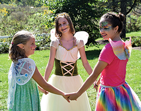 3 girls in fairy costumes at Fairy & Gnome Home Festival
