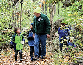 CWPD volunteer John Kennard at fall birding program