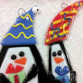 glass fused penguin ornaments