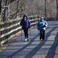 two women trail trekking on Iron Horse Trail