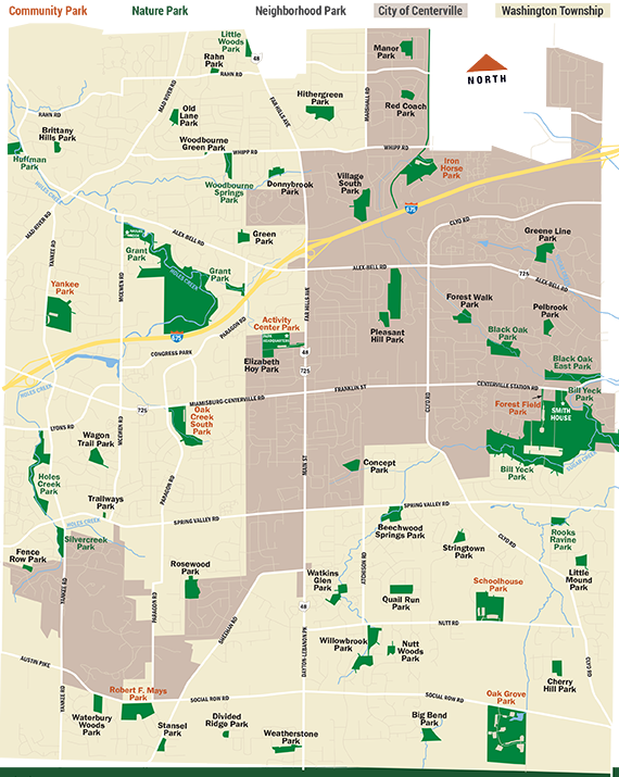 Centerville-Washington Park District's 51 parks (map)