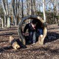 boy playing in hollow log