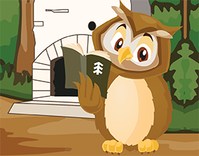 Owlexander holding book at Chimneys in Grant Park (cartoon image)