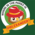 """CWPD Owlexander mascot """"Where in the Parks is Owlexander?"""""""