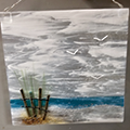 beach scene made on a square of glass