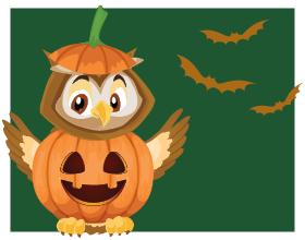 cartoon owlexander in pumpkin costume with three bats