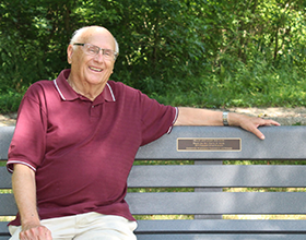 Former CWPD commissioner Harvey Smith on bench in Grant Park