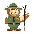 Owlexander mascot dressed as forest ranger