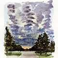 watercolor painting of a path through trees