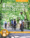 cover of summer 2021 issue of News & Events, adults biking on Iron Horse Trail