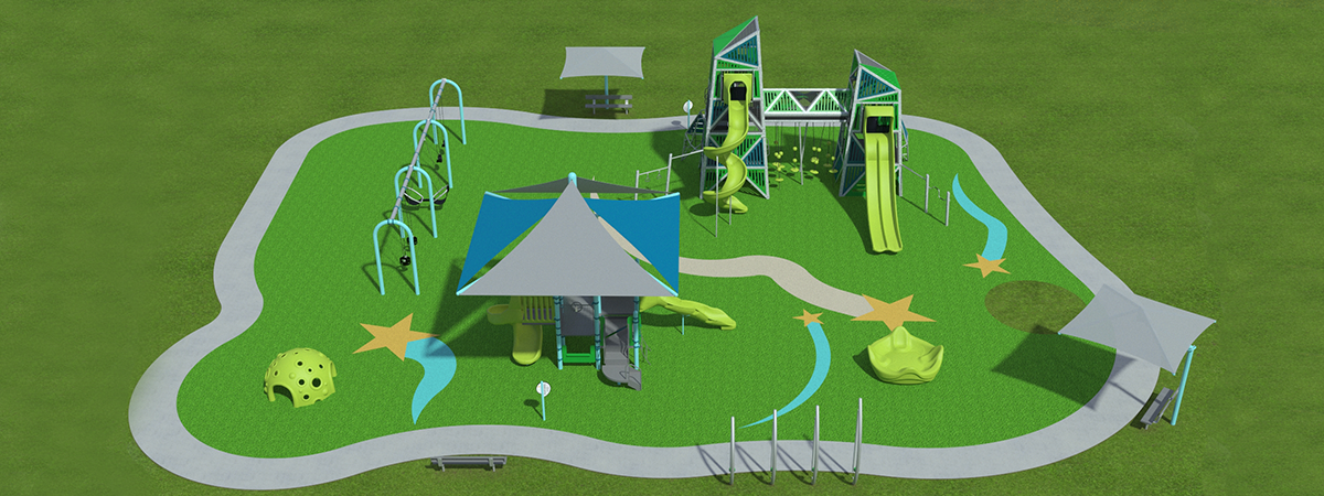 rendering of new playground equipment
