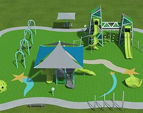 rendering of playground equipment for Yankee Park