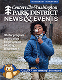 cover of winter 2021-22 issue of News & Events, boy blowing on marshmallow in snowfall